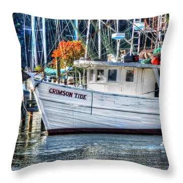 Crimson Tide In Harbor Throw Pillow by Michael Thomas