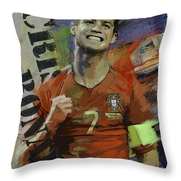 Cristiano Ronaldo - B Throw Pillow by Corporate Art Task Force