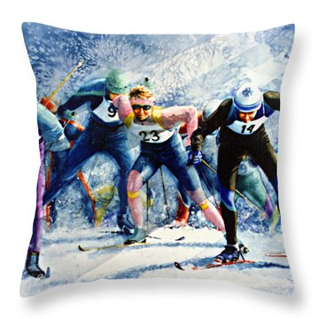 Cross-country Challenge Throw Pillow by Hanne Lore Koehler