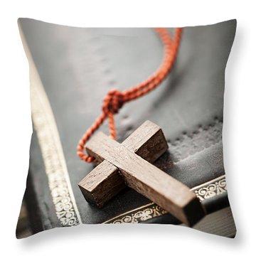 Cross On Bible Throw Pillow by Elena Elisseeva