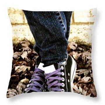 Crossed Feet Of Teen Girl Throw Pillow by Birgit Tyrrell