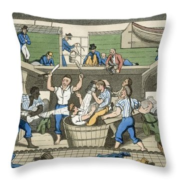 Crossing The Line, Plate From The Throw Pillow by Thomas Rowlandson