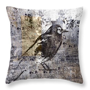 Crow Number 84 Throw Pillow by Carol Leigh