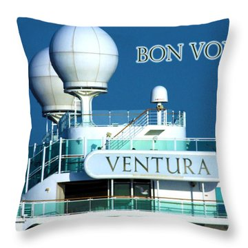 Cruise Ship Ventura's Radar Domes Throw Pillow by Terri Waters