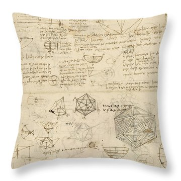 Cube Sphere Icosahedron Mention Of Known Project For Telescope  Throw Pillow by Leonardo Da Vinci