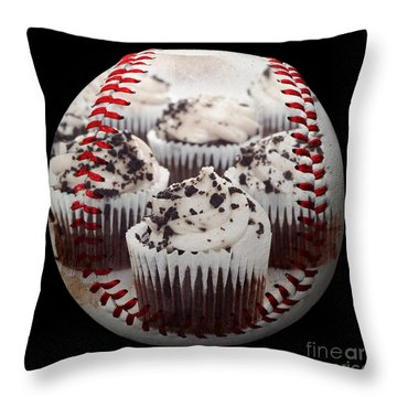 Cupcake Cuties Baseball Square Throw Pillow by Andee Design