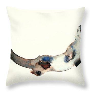 Curious Otter Throw Pillow by Mark Adlington
