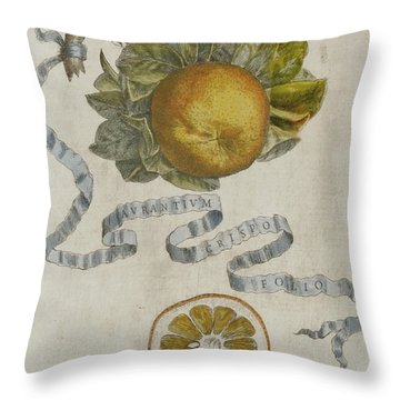 Curled Leaf Orange Throw Pillow by Cornelis Bloemaert
