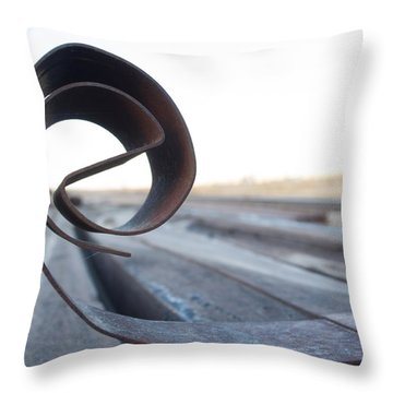 Curled Steel Throw Pillow by Fran Riley