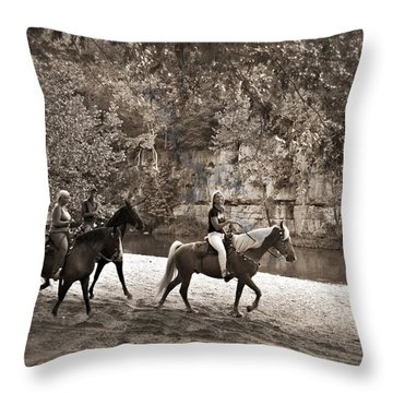 Current River Horses Throw Pillow by Marty Koch