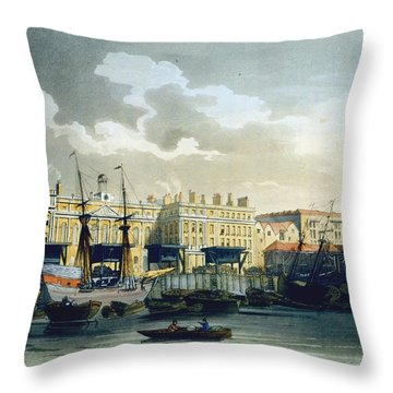 Custom House From The River Thames Throw Pillow by T. & Pugin, A.C. Rowlandson