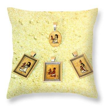 Custom Parent's Amulet Egyptian Papyrus Necklace Throw Pillow by Pet Serrano