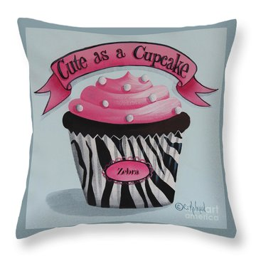 Cute As A Cupcake Throw Pillow by Catherine Holman