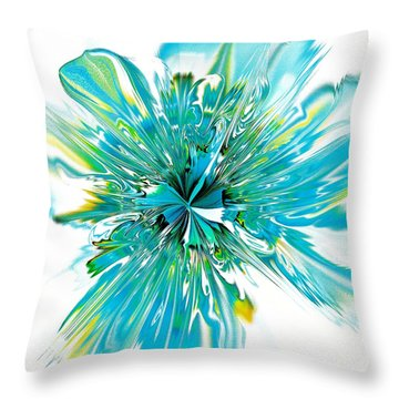 Cyan Blue Throw Pillow by Anastasiya Malakhova