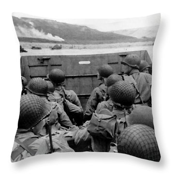 D-day Soldiers In A Higgins Boat  Throw Pillow by War Is Hell Store