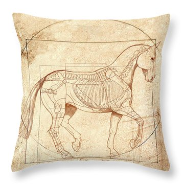da Vinci Horse in Piaffe Throw Pillow by Catherine Twomey