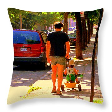 Daddy's Little Buddy Perfect Day Wagon Ride Montreal Neighborhood City Scene Art Carole Spandau Throw Pillow by Carole Spandau