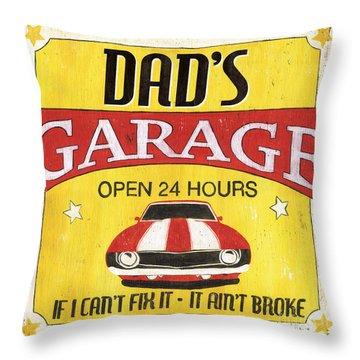 Dad's Garage Throw Pillow by Debbie DeWitt