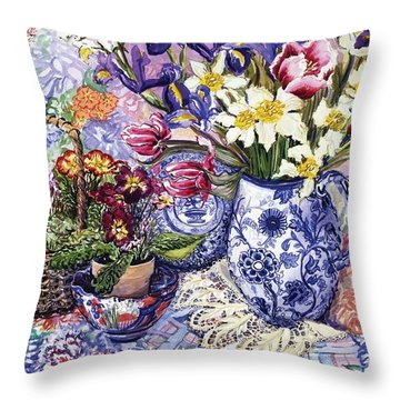 Daffodils Tulips And Iris In A Jacobean Blue And White Jug With Sanderson Fabric And Primroses Throw Pillow by Joan Thewsey