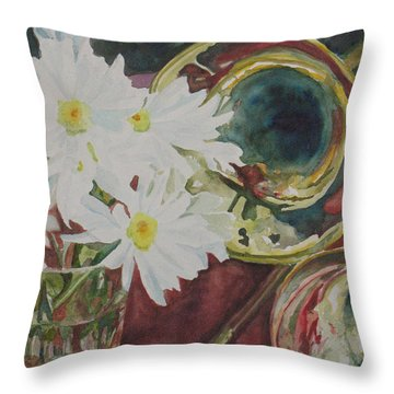 Daisies Bold As Brass Throw Pillow by Jenny Armitage