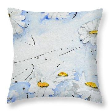 Daisies - Flower Throw Pillow by Ismeta Gruenwald