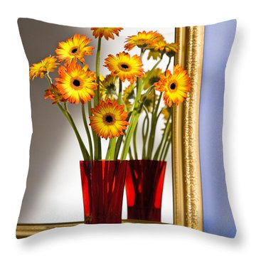 Daisies In Red Vase Throw Pillow by Tony Cordoza