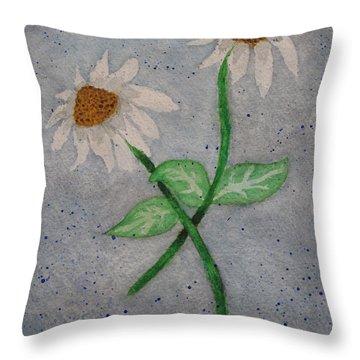 Daisies In Stormy Skies Throw Pillow by Jennifer Schwab