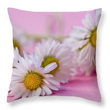 Daisies On Pink Throw Pillow by Jan Bickerton