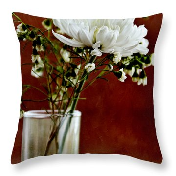Daisy Mum On Red 3 Throw Pillow by Angelina Vick