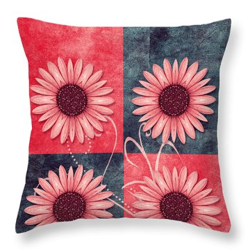 Daisy Quatro V13b Throw Pillow by Variance Collections