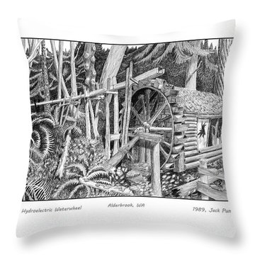 Dalby Waterwheel Hood Canal W A Throw Pillow by Jack Pumphrey