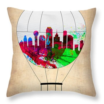 Dallas Air Balloon Throw Pillow by Naxart Studio