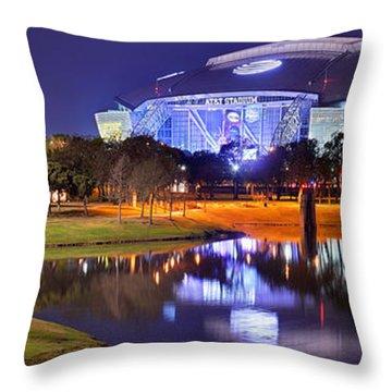 Dallas Cowboys Stadium At Night Att Arlington Texas Panoramic Photo Throw Pillow by Jon Holiday