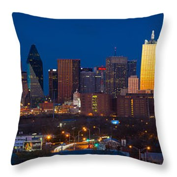 Dallas Skyline Panorama Throw Pillow by Inge Johnsson