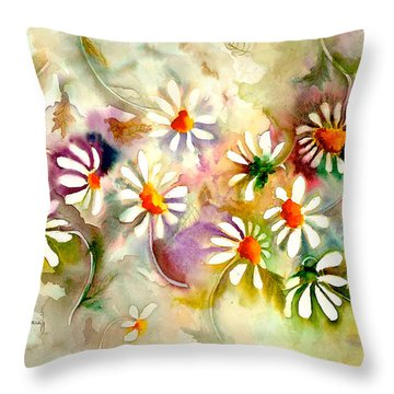 Dance Of The Daisies Throw Pillow by Neela Pushparaj