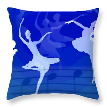 Dance The Blues Away Throw Pillow by Joyce Dickens