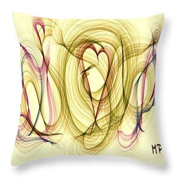 Dancing Heart Throw Pillow by Marian Palucci-Lonzetta