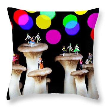 Dancing On Mushroom Under Starry Night Throw Pillow by Paul Ge