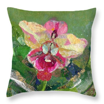 Dancing Orchid I Throw Pillow by Shadia Derbyshire