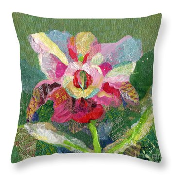 Dancing Orchid II Throw Pillow by Shadia Zayed