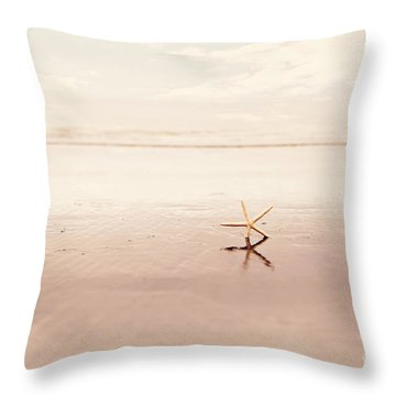 Dancing Starfish Beach Photograph Throw Pillow by Sylvia Cook