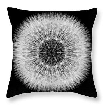 Dandelion Head Flower Mandala Throw Pillow by David J Bookbinder