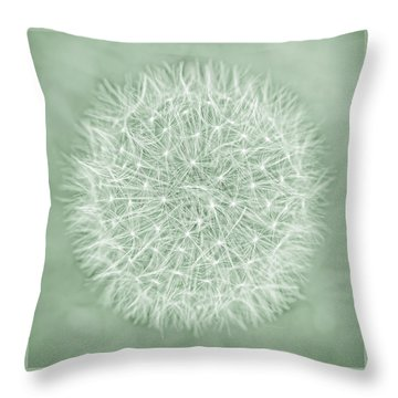 Dandelion Macro Abstract Soft Green Throw Pillow by Jennie Marie Schell