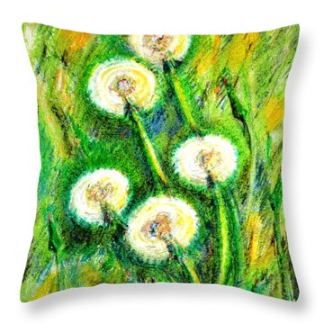 Dandelions Throw Pillow by Zaira Dzhaubaeva