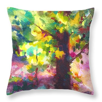 Dappled - Light Through Tree Canopy Throw Pillow by Talya Johnson