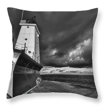 Dark Clouds Black And White Throw Pillow by Sebastian Musial