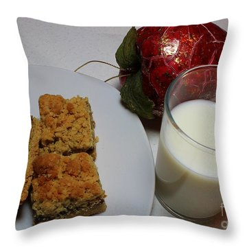 Date Squares - Snack - Dessert - Milk Throw Pillow by Barbara Griffin