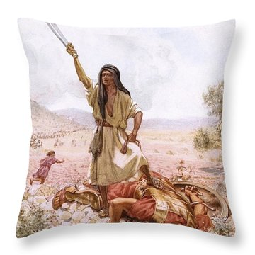 David And Goliath Throw Pillow by William Brassey Hole