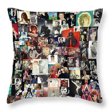 David Bowie Collage Throw Pillow by Taylan Apukovska