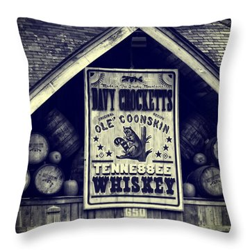 Davy Crocketts Tennessee Whiskey Throw Pillow by Dan Sproul